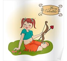 young pretty girl with cupid bow. valentine's day card Poster