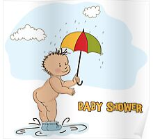 baby boy shower card with funny baby under his umbrella Poster