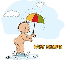 baby boy shower card with funny baby under his umbrella Photographic Print
