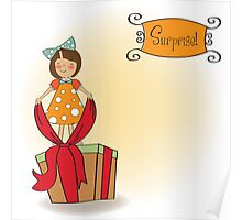 a nice girl with a big gift box Poster