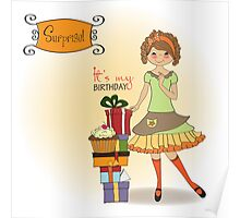 pretty young girl with gift Poster