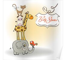 baby shower card with funny pyramid of animals Poster
