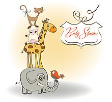 baby shower card with funny pyramid of animals Photographic Print