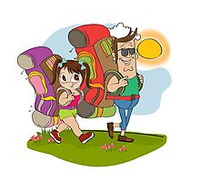 father and daughter tourist traveling with backpacks Photographic Print