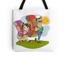 father and daughter tourist traveling with backpacks Tote Bag