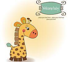 welcome baby card with giraffe by Balasoiu Claudia