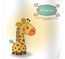 welcome baby card with giraffe Poster