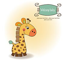 welcome baby card with giraffe Photographic Print