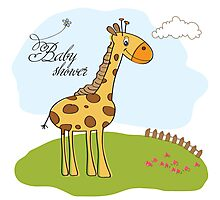 new baby announcement card with giraffe Photographic Print