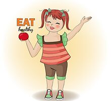 pretty young girl recommends healthy food by Balasoiu Claudia