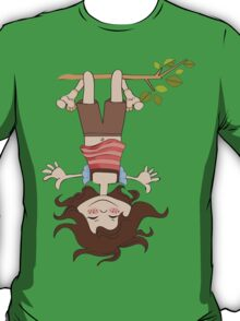 amused young girl standing with her head hanging down T-Shirt
