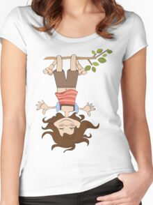 amused young girl standing with her head hanging down Women's Fitted Scoop T-Shirt