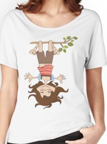 amused young girl standing with her head hanging down Women's Relaxed Fit T-Shirt