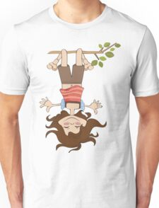 amused young girl standing with her head hanging down Unisex T-Shirt