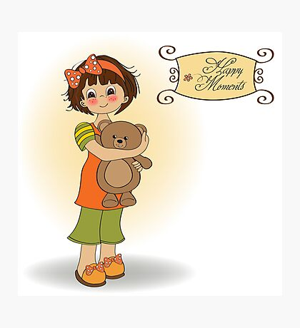 young girl going to sleep with her favorite toy, a teddy bear Photographic Print