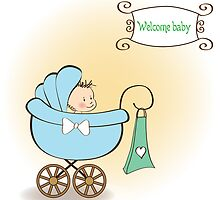 baby boy announcement card with baby and pram by Balasoiu Claudia