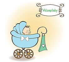 baby boy announcement card with baby and pram Photographic Print