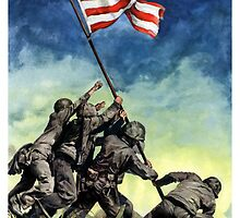 Raising The Flag On Iwo Jima by warishellstore