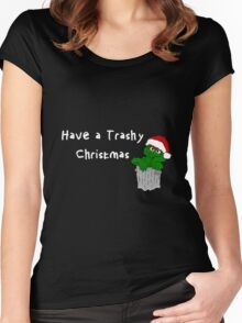 Oscar the Grouch at Christmas (dark) Women's Fitted Scoop T-Shirt