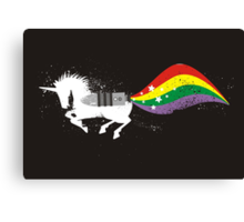Grunge rocket rainbow unicorn space dust Canvas Print
