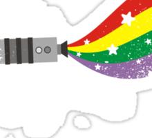 Grunge rocket rainbow unicorn space dust Sticker