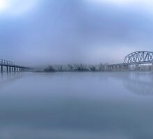 Bridges Under Fog - Murray Bridge, South Australia by Mark Richards
