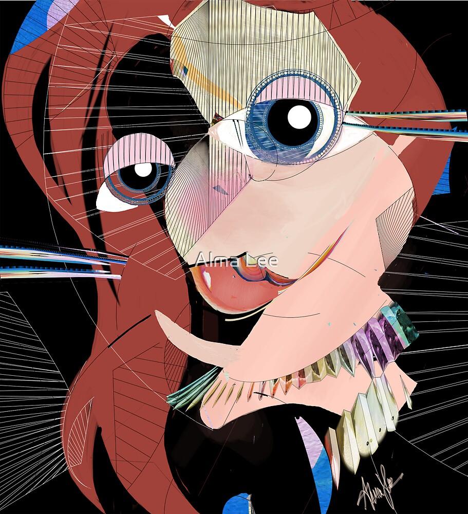 Malibu Marmalade: Cubist portrait by Alma Lee