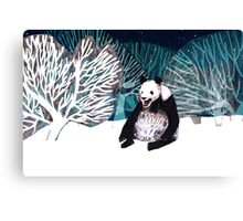 Panda bear in the snow Canvas Print