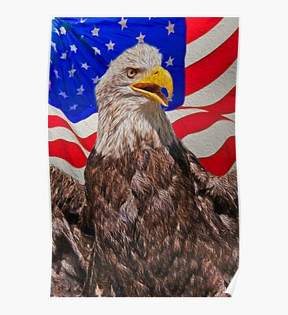 Eagle with Waving Flag Poster