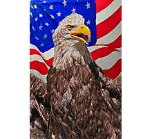 Eagle with Waving Flag Photographic Print