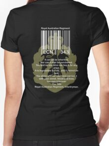 bar code with green Skippy badge for dark shirts Women's Fitted V-Neck T-Shirt
