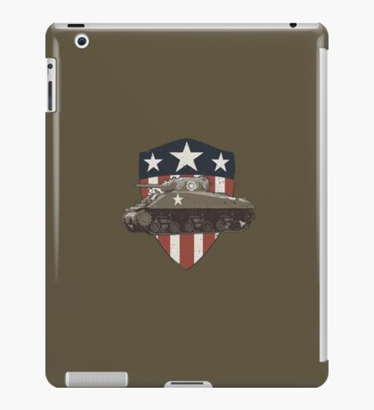 Vintage Look Sherman Tank on Captain America Style Shield iPad Case/Skin