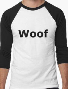 Woof White on Black T'Shirt Men's Baseball ¾ T-Shirt