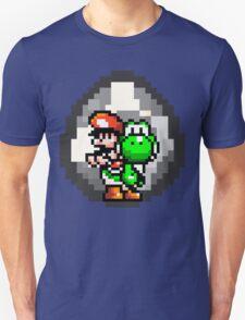 Mario & Yoshi with Egg Background Unisex T-Shirt