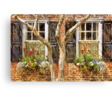 Flower-Filled Window Boxes on Tradd St - Charleston SC Canvas Print
