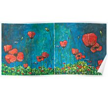 Poppies Diptych Poster
