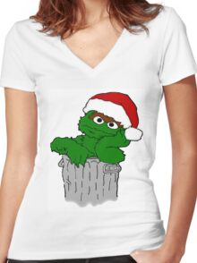 Christmas Oscar the Grouch Women's Fitted V-Neck T-Shirt