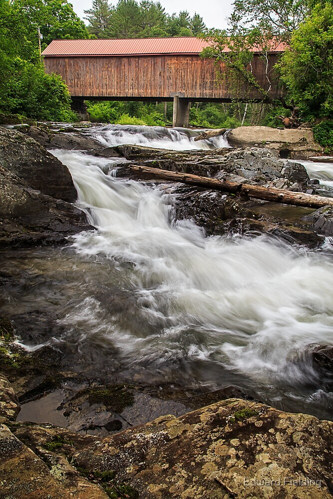 Vermont Covered Bridge and Waterfall  by Edward Fielding