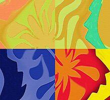 4 Way Colorful Abstract Shapes by ibadishi