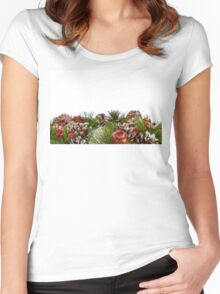 Christmas Decorative Wreath on White Background Women's Fitted Scoop T-Shirt