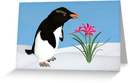 Humorous Penguin and Pink Flowers  by Delores Knowles