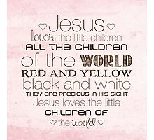 Jesus Loves The Little Children – Square – Pink  Photographic Print