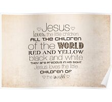 Jesus Loves The Little Children – 2:3 – Tan  Poster