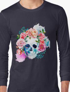 Skull flower art Long Sleeve T-Shirt