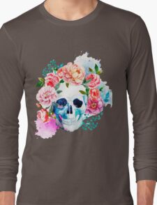 Skull flower art Long Sleeve T-Shirt