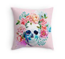 Skull flower art Throw Pillow