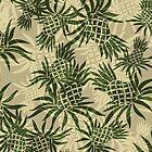 Pineapple Camo Hawaiian Aloha Shirt Print- Khaki and Olive by DriveIndustries