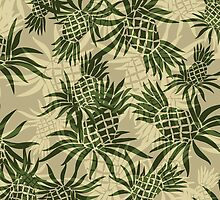Pineapple Camo Hawaiian Aloha Shirt Print- Khaki and Olive by DriveIndustries