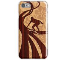 Faux Koa Wood Hawaiian Surfer  iPhone Case/Skin
