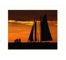 Tall Ships at Sunset II Art Print